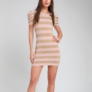 Rylie Blush Pink Striped Bodycon Sweater Dress